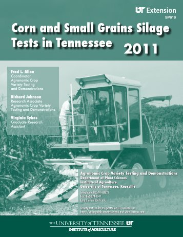 Corn and Small Grains Silage Tests in Tennessee - UT Extension