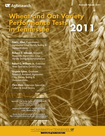 Wheat and Oat Variety Performance Tests in Tennessee