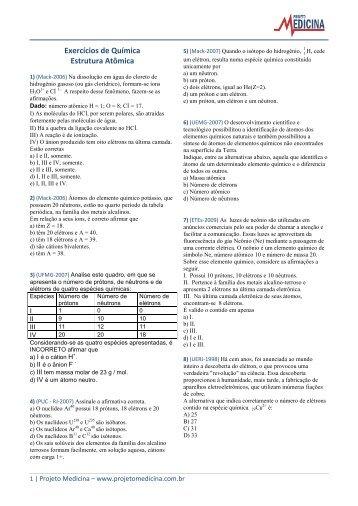 Exercícios de Química Estrutura Atômica - Projeto Medicina