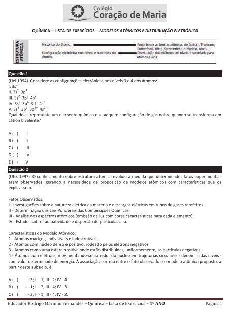 Educador Rodrigo Marinho Fernandes Química Lista De