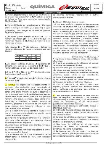 3º ANO - EXERCÍCIO DE Estrutura Atômica