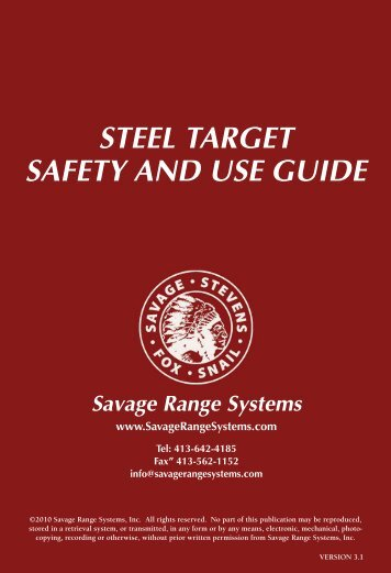 Steel Target Safety Guide - Savage Range Systems