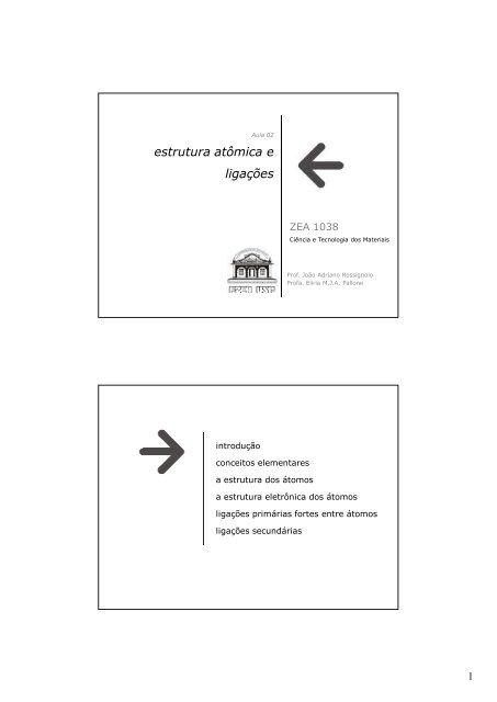Zea1038 Estrutura Atômica E Ligações Interatômicas