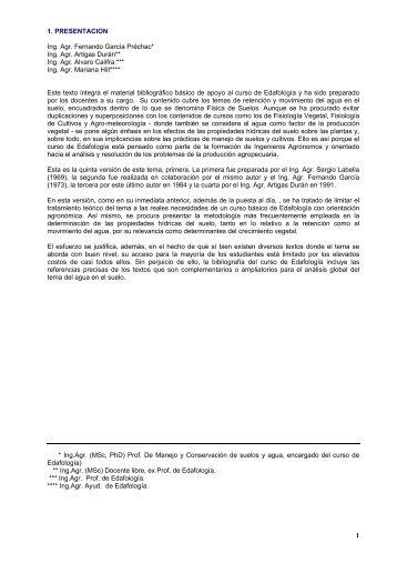 Propiedades Hidricas del suelo - Facultad de Agronomía
