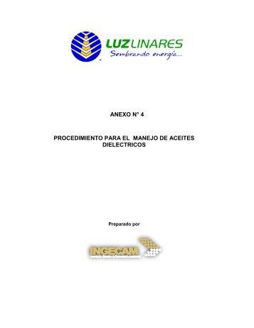 anexo n° 4 procedimiento para el manejo de aceites dielectricos