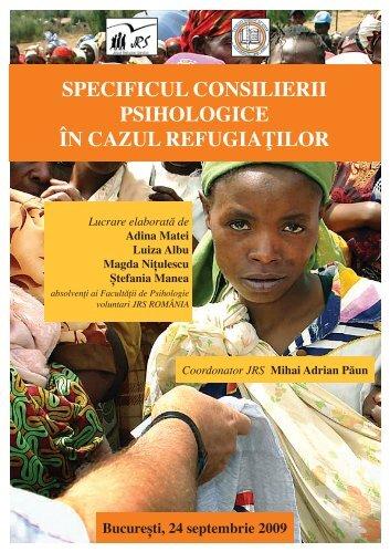 specificul consilierii psihologice în cazul refugiaţilor - JRS Romania