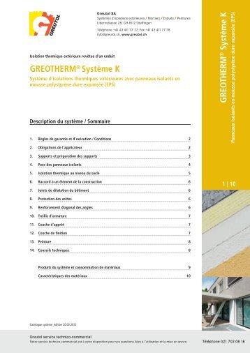 GREO THERM Système K GREOTHERM® Système K - Valcolor SA