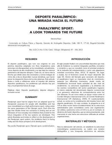 DEPORTE PARALÍMPICO: UNA MIRADA HACIA EL FUTURO ...