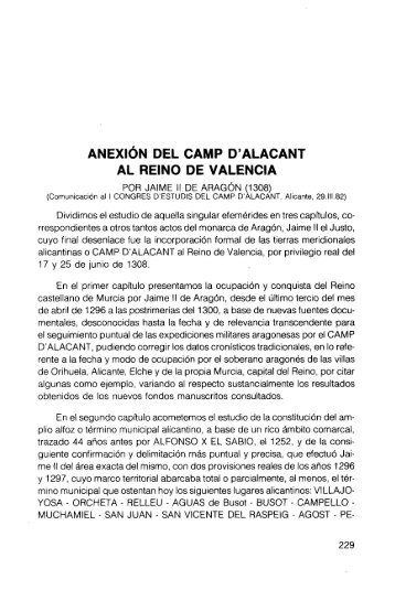 anexión del camp d'alacant al reino de valencia - RUA - Universidad ...