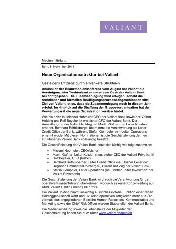 Medienmitteilung 08.11.2011 (PDF, 18.4 KB) - Valiant Bank