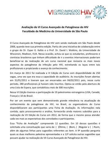 Documento de Avaliação do VI Curso - VII Curso Avançado de ...