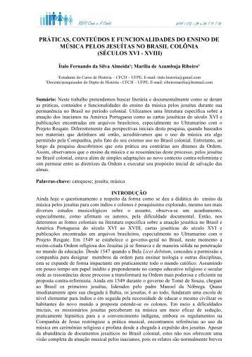 séculos xvi - xviii - Universidade Federal de Pernambuco