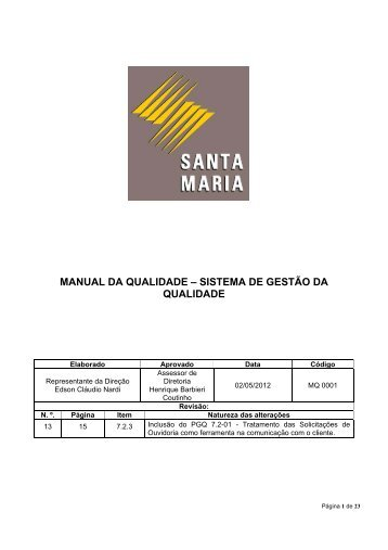 Gestão da Qualidade - Empresa Luz e Força Santa Maria | (ELFSM)