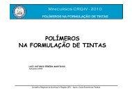 POLÍMEROS NA FORMULAÇÃO DE TINTAS - Conselho Regional ...