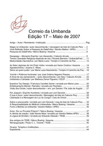 Correio da Umbanda Edição 17 – Maio de 2007 - povo de aruanda