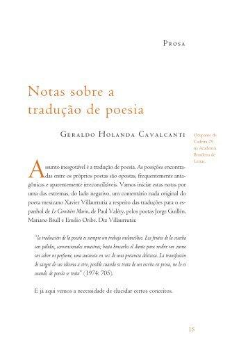 Notas sobre a tradução de poesia - Academia Brasileira de Letras