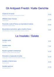 Le Insalate / Salate Gli Antipasti Freddi / Kalte Gerichte - VAL SOLE