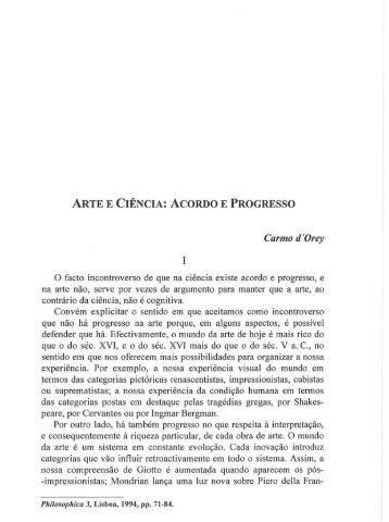ARTE E CIÊNCIA: ACORDO E PROGRESSO - Centro de Filosofia