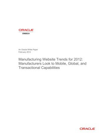 Manufacturing Website Trends for 2012: Manufacturers Set ... - Oracle