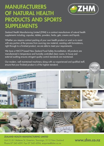 manufacturers of natural health products and sports supplements