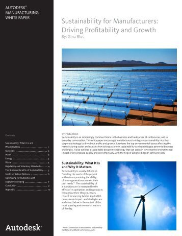 Sustainability for Manufacturers: Driving Profitability and ... - Autodesk