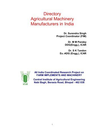 Agricultural machinery and manufacturers in India - Central Institute ...