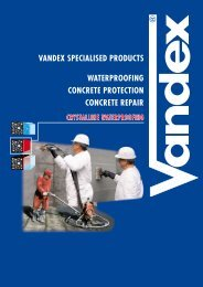 VANDEX SPECIALISED PRODUCTS WATERPROOFING CONCRETE