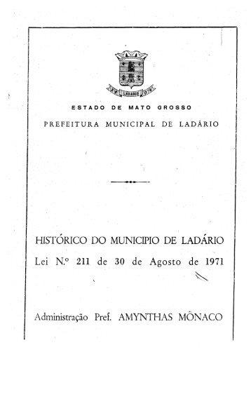 Lei 211 - Prefeitura Municipal de Ladário