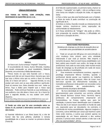 ma/2012 professor nível ii – 6º ao 9º ano - história língua portuguesa ...