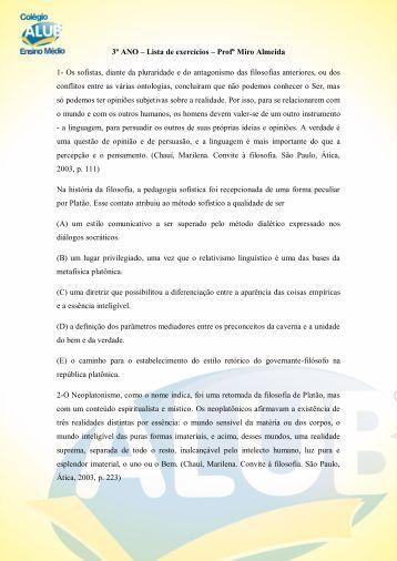 3º ANO – Lista de exercícios – Profº Miro Almeida 1- Os ... - ALUB