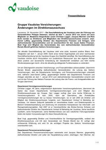 Gruppe Vaudoise Versicherungen: Änderungen im ...