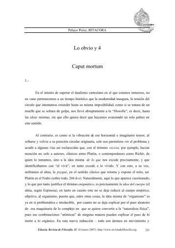Lo obvio y 4 Caput mortum - EIKASIA - Revista de Filosofía