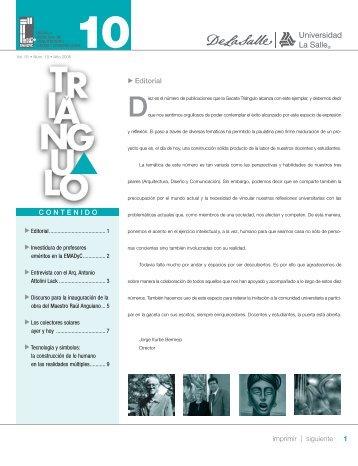 1 imprimir | siguiente Editorial CONTENIDO
