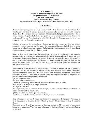 LA DOLOROSA Zarzuela de ambiente aragonés en dos actos, el ...