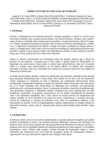 Futuro da física solar no Brasil - Sociedade Astronômica Brasileira