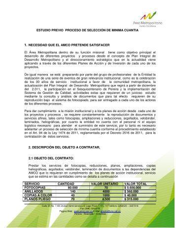 ESTUDIO PREVIO PROCESO DE SELECCIÓN DE MINIMA ...