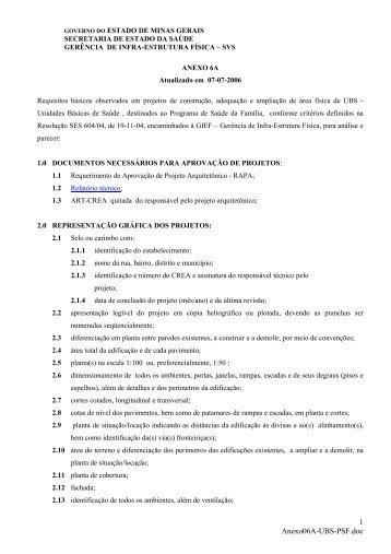 Anexo 06 A - Secretaria de Estado de Saúde de Minas Gerais ...