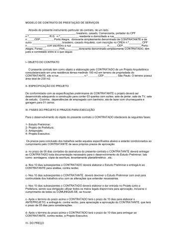 MODELO DE CONTRATO DE PRESTAÇÃO DE SERVIÇOS - saergs