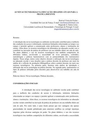 AS NOVAS TECNOLOGIAS NA EDUCAÇÃO: DESAFIOS ATUAIS ...