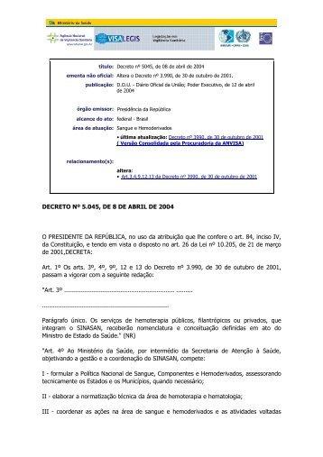 Decreto nº 5045, de 08 de abril de 2004