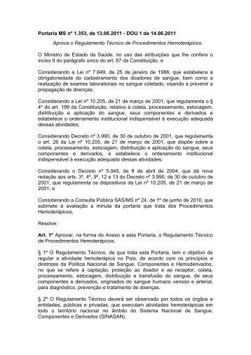Portaria MS nº 1.353, de 13.06.2011 - DOU 1 de 14.06 ... - Hemominas