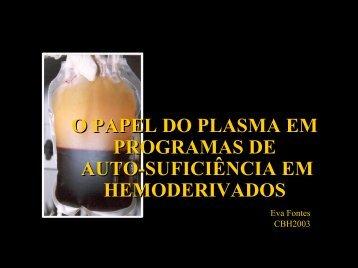 O PAPEL DO PLASMA EM PROGRAMAS DE AUTO-SUFICIÊNCIA ...