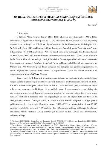 os relatórios kinsey - Universidade Federal de Santa Catarina