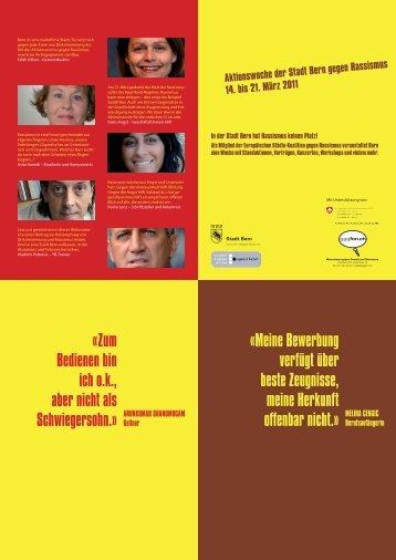Aktionswoche der Stadt Bern gegen Rassismus 14. bis 21. März 2011