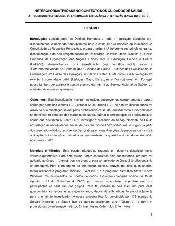 1 RESUMO HETERONORMATIVIDADE NO ... - Apbioetica.org