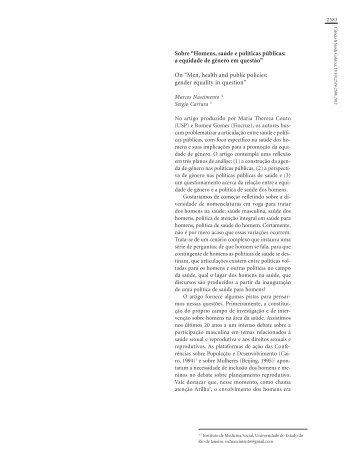 """Sobre """"Homens, saúde e políticas públicas: a equidade de ... - SciELO"""