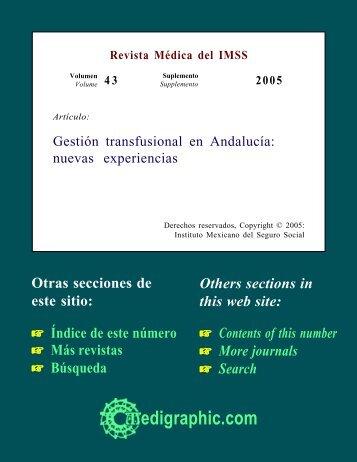 Gestión transfusional en Andalucía: nuevas ... - edigraphic.com