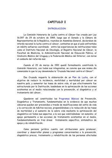 CAPITULO I - Comisión Honoraria de Lucha contra el cáncer