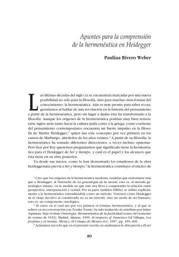 Apuntes para la comprensión de la hermenéutica en Heidegger