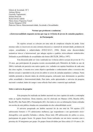 Gênero & Juventude. ST 1 Adriano Beiras Grazielle Tagliamento ...